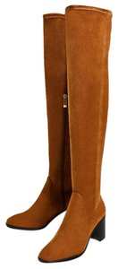 Zara Over The Knee Leather New Nwt Brown Boots