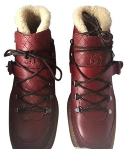Chanel Leather Shearling Sheep Burgundy Boots