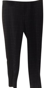 Theory Capri/Cropped Pants charcoal with white and blue striped plaid
