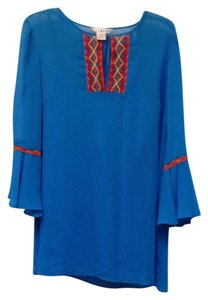 WD.NY Bell Sleeves Lace Trim Keyhole Tie Tunic