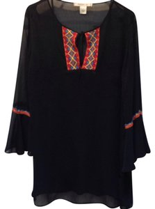 Arden B. Bell Sleeves Lace Trim Keyhole Tunic