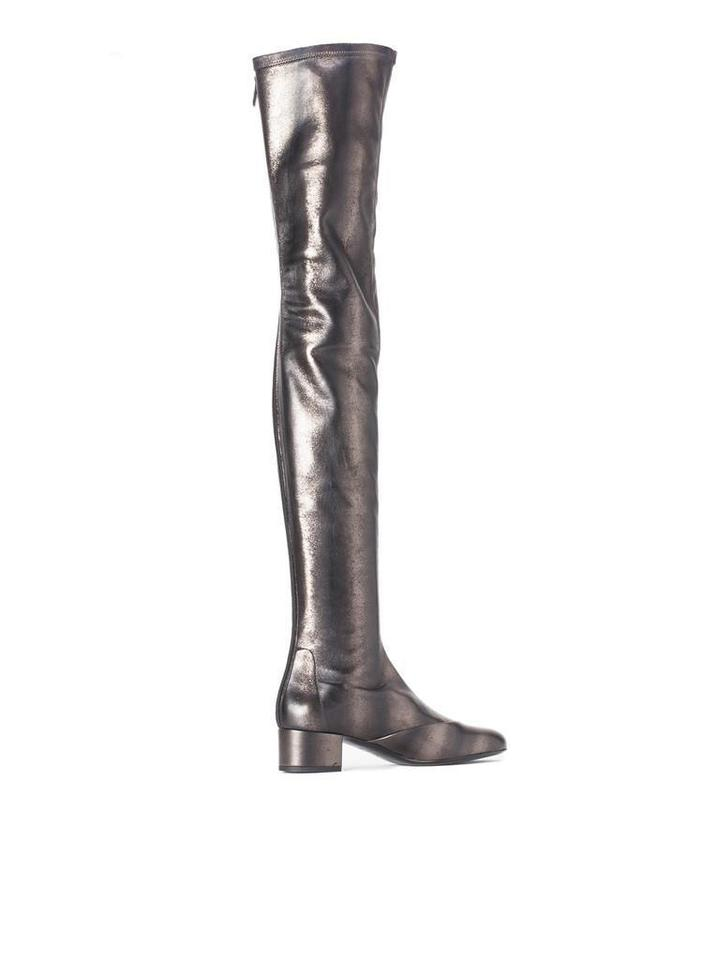 1b404098469 Chanel Grey Fantasy Stretch Leather Thigh High Over Knee Tall Boots Booties