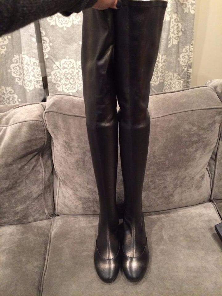 fd0a9a8d6d9 Chanel Grey Fantasy Stretch Leather Thigh High Over Knee Tall Boots ...