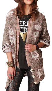 Free People Fuzzy Coat High Low Bohemian Festival Fall Sweater