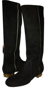 Chanel Cc Gold Trim Chiseled Heel Suede Black Boots