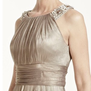 David's Bridal Gold Jeweled Neck Gown Dress