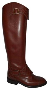 Chanel Cc Polo Riding Buckled Brown Boots