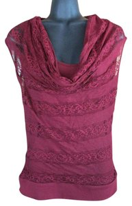 HeartSoul Lace Spring Summer Red Top Burgundy