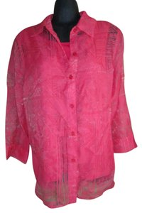Alfred Dunner New Lace Coral Summer Top Pink
