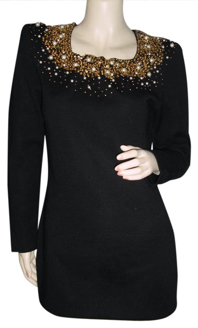 Fashionista Black Gold Knit Sequins White Pearls Beaded