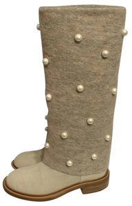 Chanel Cc Pearl Foldover Beige Boots