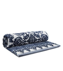 Tory Burch Navy White Cotton Beach Towel