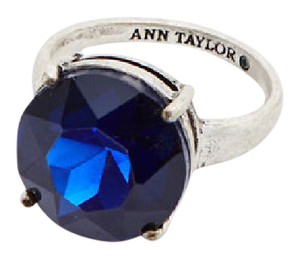 Ann Taylor NAVY BLUE LARGE SILVER TONE Cocktail Ring