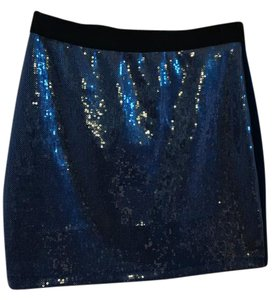 Pins and Needles Sequin Sexy Evening Mini Skirt blue