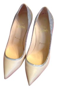 Christian Louboutin Glitter Evening Stiletto Beige and Silver Pumps