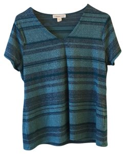 Coldwater Creek T Shirt turquoise and navy