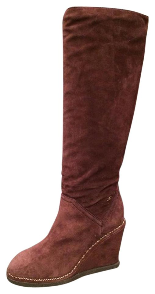 0380d54a2b4 Chanel Burgundy 15b Suede Knee High Tall Wedge Heel Chain Boots Booties