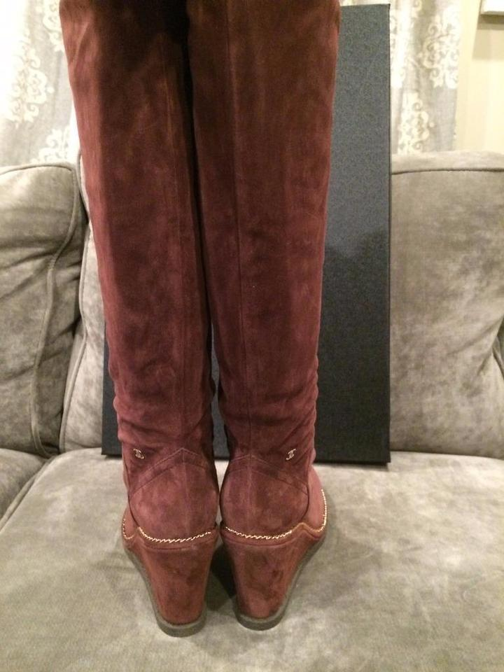 ea36c58bb3c Chanel Burgundy 15b Suede Knee High Tall Wedge Heel Chain Boots Booties  Size EU 39 (Approx. US 9) Regular (M