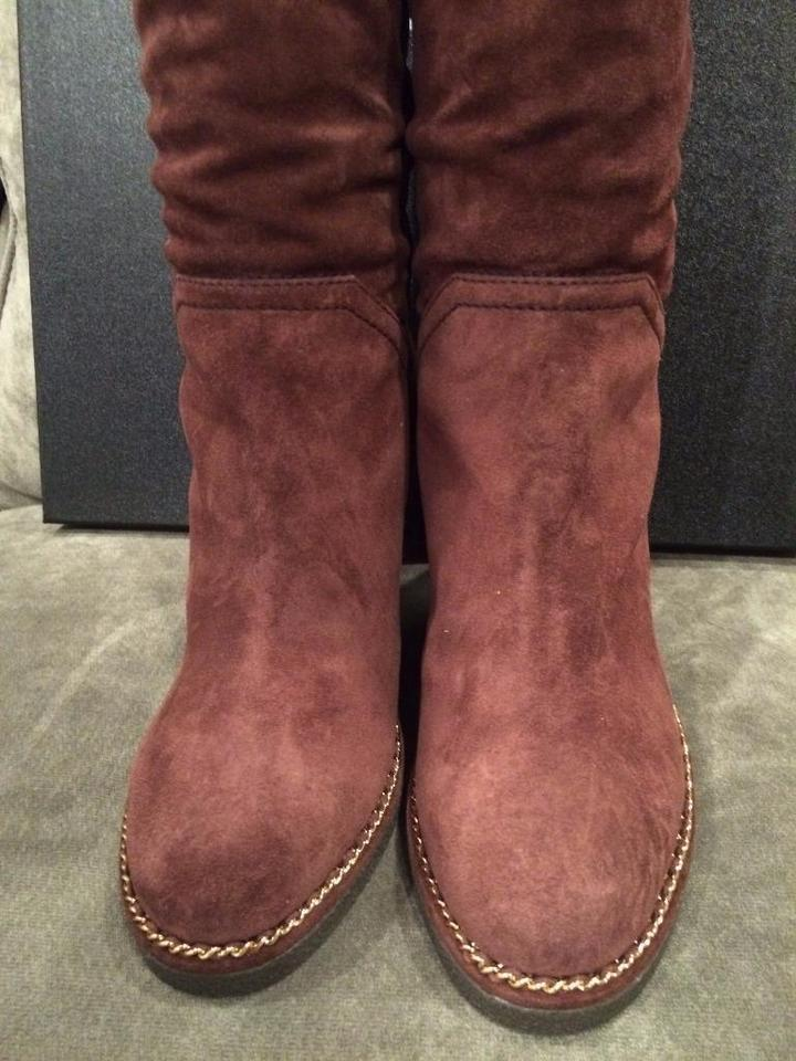 c2848137a42 Chanel Burgundy 15b Suede Knee High Tall Wedge Heel Chain Boots ...