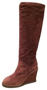 Chanel Cc Wedge Chain Burgundy Boots