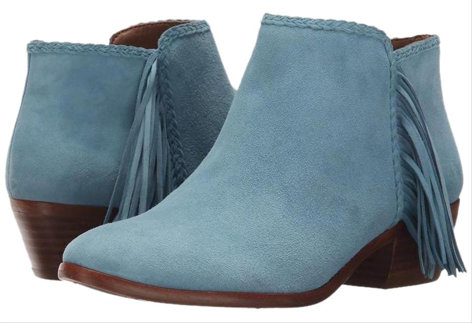 7785361c71f307 Sam Edelman Blue Paige Ankle Low Heel Fringed Detail Suede Leather Used  Twice Boots Booties Size US 6 Regular (M