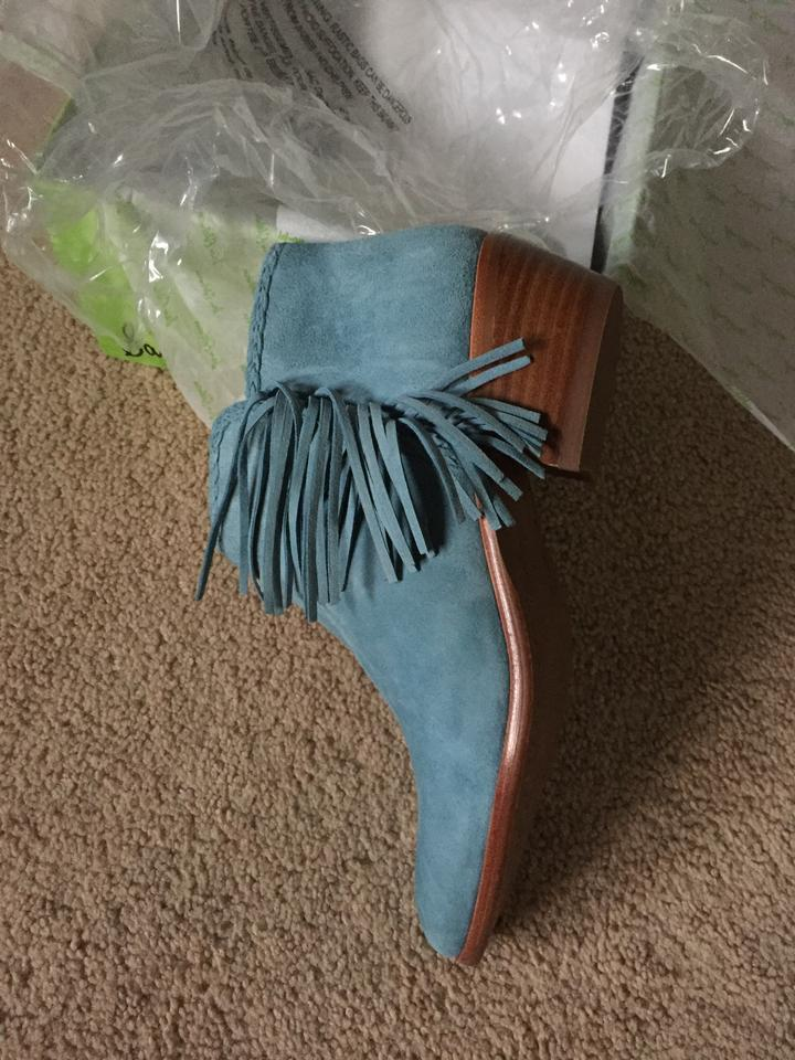 2656fea72e51 Sam Edelman Blue Paige Ankle Low Heel Fringed Detail Suede Leather ...
