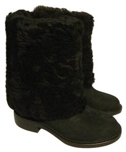 Chanel Cc Shearling Fur Black Boots