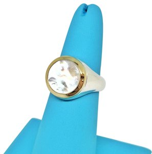 Tiffany & Co. Tiffany & Co. Mother of Pearl Signet Ring 18 karat Gold and Sterling