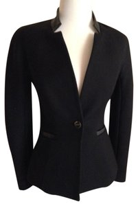 Ted Baker Fitted Leather Trim Black Blazer