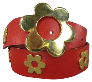 Moschino Cheap & Chic 10 Red Leather Gold Flower Studs Belt