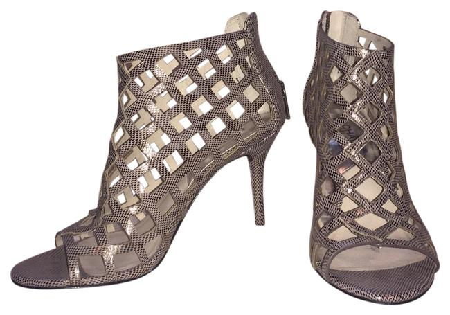 Item - Gun Metal Gray Cutout Open Toe Booties Formal Shoes Size US 7 Regular (M, B)