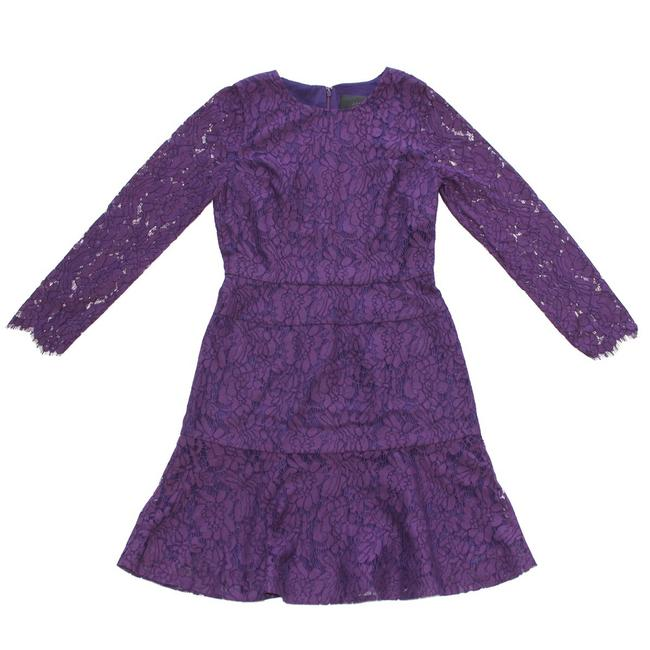 Item - Purple Long-sleeve In Floral Lace T8 Long Cocktail Dress Size 8 (M)