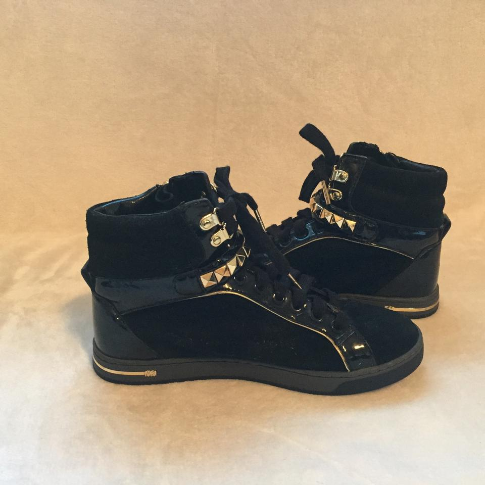 fc3c70f9f99e Michael Kors Black and Gold Suede High Top Sneakers Sneakers Size US ...