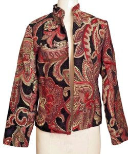 Coldwater Creek Tapestry Paisley Red and Black Blazer