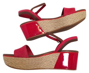 Cole Haan Patent Leather Nubuck Leather Platform Arden Wedges Tango Red Sandals