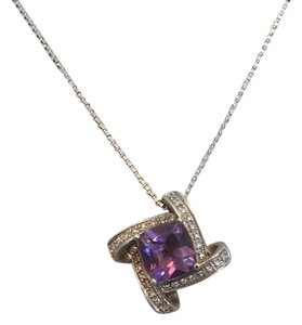 Leroys Jewlers Amethyst and diamonds, sterling silver chain