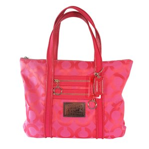 Coach Like New Signature Jacquard Patent Leather Silver Hardware Poppy Op Art Tote in Pink
