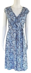 Ann Taylor LOFT short dress Blue Pale Slinky Cross Over Paisley on Tradesy