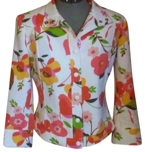Carlisle Floral Snap Front White Yellow Green Jacket