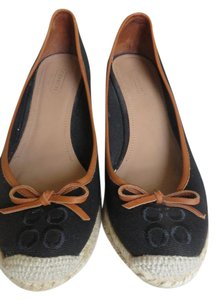Coach Canvas Leather Trimmed Black Wedges