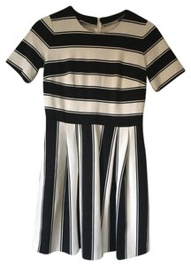 Ann Taylor LOFT short dress Black and White Fit Flare Striped Short Sleeve on Tradesy