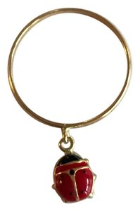 Milor Milor 18K Yellow Gold Enamel Ladybug Charm Ring