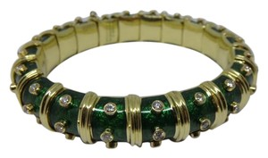 Tiffany & Co. 18k Gold Schlumberger Green Enamel & 3 row Diamond Bangle