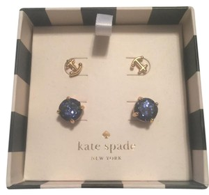 Kate Spade Gold-Tone Glitter and Bow Stud Earring Set