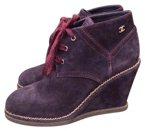 Chanel Cc Wedge Chain Navy Blue Boots