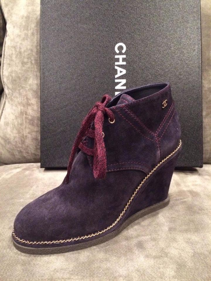 44163250c2f Chanel Navy Blue 15b Suede Wedge Heel Chain Lace Up Ankle Boots ...