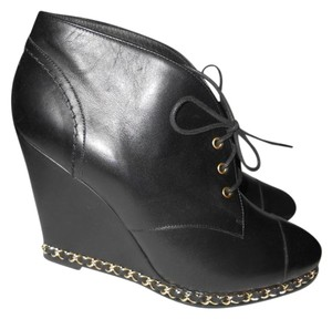 Chanel Cc Wedge Chain Black Boots