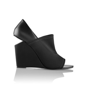Alexander Wang Luxury Made In Italy Metallic Hardware Neoprene Leather Black Wedges