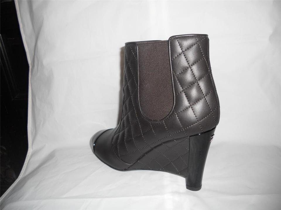 57553f4166b7 Chanel Brown Quilted Leather Patent Cap Toe Wedge Ankle Boots ...