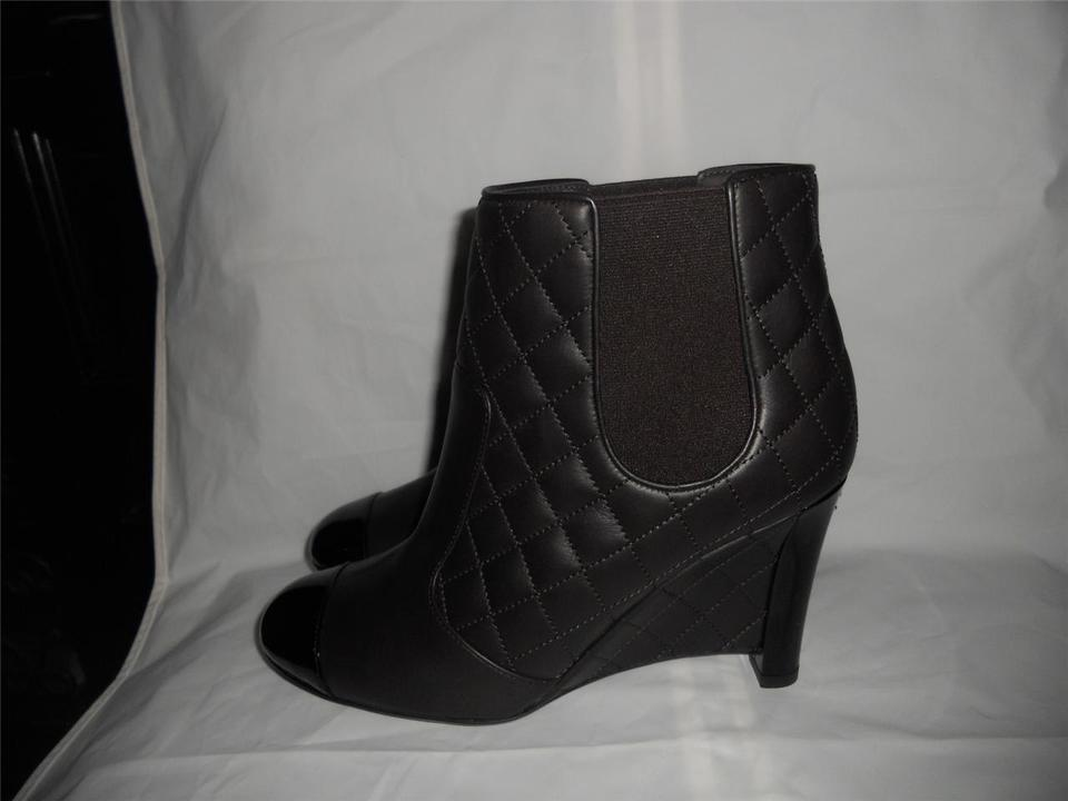 8dc02780e8a0 Chanel Brown Quilted Leather Patent Cap Toe Wedge Ankle Boots Booties Size  US 8 - Tradesy